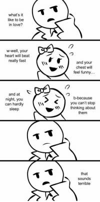 Funny, Love, and Tumblr: ST  what's it  like to be  in love?  w-well, your  heart will beat  really fast  and your  chest will  feel funny...  (7  and at  night, you  can hardly  sleep  b-because  you can't stop  thinking about  them  that  sounds  terrible srsfunny:  The Actual Truth About Love