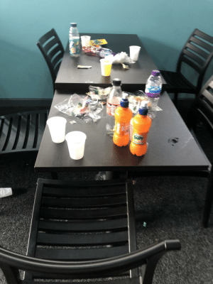 Trashy, Looking, and Tables: st With a cafe visibly at full capacity, understaffed and customers leave their tables looking like this 😫🤦🏽♀️