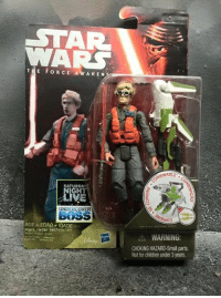 New Kylo action figure!: STA  THE FORCE AWAKEN  ABLE  SATURDAY  GHT  UNDERCOVER  BNSS  AGE EDAD IDADE  Matt, radar technician  WARNING:  CHOKING HAZARD-Small parts.  Not for children under 3 years New Kylo action figure!
