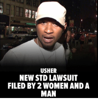 Herpes, Memes, and Usher: STABBC  USHER  NEW STD LAWSUIT  FILED BY 2 WOMEN AND A  MAN The Usher scandal - that he allegedly has herpes and had sexual contact with individuals without telling them - is about to get bigger, because 2 women and a man are going to file a lawsuit claiming Usher exposed them to the STD. Read more at TMZ.com usher tmz