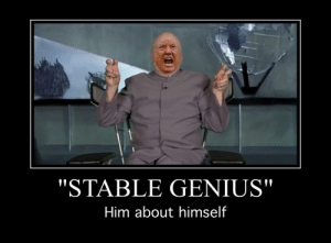 """Genius, Him, and Utterly: """"STABLE GENIUS""""  Him about himself So stable, utterly Genius..."""