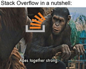 Not wrong tho: Stack Overflow in a nutshell:  Apes together strong. Not wrong tho