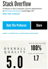 Harvard: Stack Overflow  Professor in the Computer Science department  at Harvard University, Cambridge, MA  ARE YOU STACK?  Rate This Professor  Share  SUBMIT A CORRECTION I LEARN HOW RATINGS WORK  WOULD TAKE AGAIN  2  OVERALL 100%  1.1  LEVEL OF DIFFICULTY