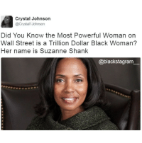 Stal Johnson  @Crystal Johnson  Did You Know the Most Powerful Woman on  Wall Street is a Trillion Dollar Black Woman?  Her name is Suzanne Shank  @black stagram Black. Strong. Beautiful. Powerful. Like it. Blackstagram👑 hotnews black africanamerican blacklivesmatter blackunity blackis melanin icantbreath neverforget sayhername blackhistorymonth blackpride blackandproud dreamchasers blackgirls blackwomen blackman westandtogether proudtobeblack blackbusiness
