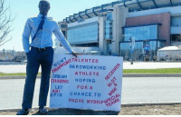 Former UMass WR has waited outside Gillette Stadium every day for a month for a tryout: STALENTED  HARD WORKING  ATHLETE  DREAM  CHASING  HOPING  FOR A  LET  ABI  SPIN  CHANCE TO  PROVE MYSELF Former UMass WR has waited outside Gillette Stadium every day for a month for a tryout