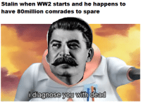 History, Never, and Been: Stalin when WW2 starts and he happens to  have 80million comrades to spare  i diaanose you with dead  0