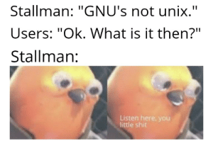 """I haven't programmed that path yet.: Stallman: """"GNU's not unix.""""  Users: """"Ok. What is it then?""""  Stallman:  Listen here, you  little shit I haven't programmed that path yet."""