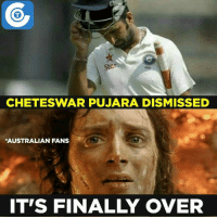 A big setback for India!: Stan  CHETESWAR PUJARA DISMISSED  *AUSTRALIAN FANS  ITS FINAL OVER A big setback for India!