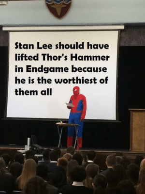 Stan, Stan Lee, and Cry: Stan Lee should have  lifted Thor's Hammer  in Endgame because  he is the worthiest of  them all Men dont cry