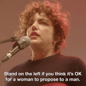 This social experiment hosted by @anniemacdj is a real eye-opener on gender equality 👀👏: Stand on the left if you think it's OkK  for a woman to propose to a man. This social experiment hosted by @anniemacdj is a real eye-opener on gender equality 👀👏