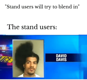 """David Davis and his stand: Bad Haircut!: """"Stand users will try to blend in""""  The stand users:  DAVID  DAVIS  ICE David Davis and his stand: Bad Haircut!"""