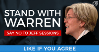 Demand the Senate vote NO on Jeff Sessions (and we'll deliver your signature to McConnell!): http://dems.me/2kmnwXa: STAND WITH  WARREN  SAY NO TO JEFF SESSIONS  LIKE IF YOU AGREE  CC Demand the Senate vote NO on Jeff Sessions (and we'll deliver your signature to McConnell!): http://dems.me/2kmnwXa
