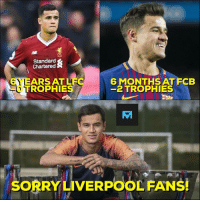 Memes, Sorry, and Liverpool F.C.: Standard  Chartered  YEARS ATLFGGMONHATECB  6 MONTHS AT FCB  -2 TROPHIES  TROPHIES  SORRY LIVERPOOL FANS! Philippe Coutinho.....