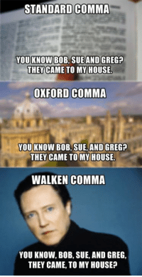 Dank, 🤖, and Oxford: STANDARD COMMA  YOU KNOW BOB SUE AND GREG?  THEY CAME TO MY HOUSE.  OXFORD COMMA  YOU KNOW BOB, SUE, AND GREG?  THEY CAME TO MY HOUSE.  WALKEN COMMA  YOU KNOW, BOB, SUE, AND GREG,  THEY CAME, TO MY HOUSE? The standard comma, the Oxford comma, and now, the Walken comma