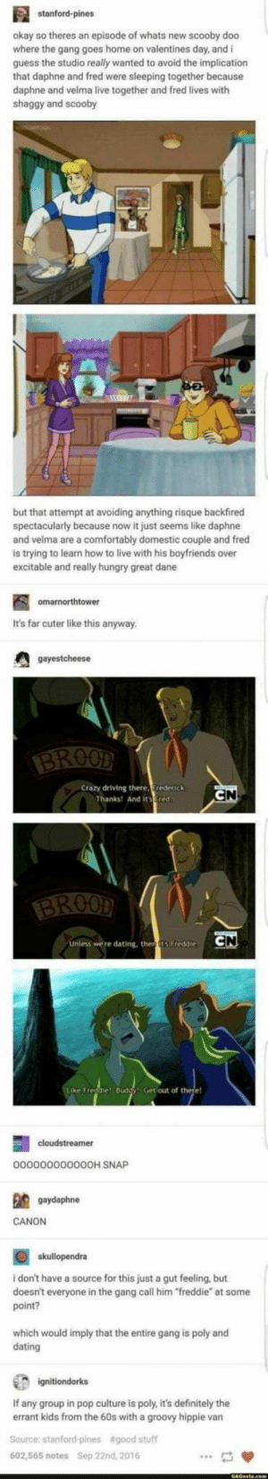 "22+ Fresh And Fabulous Tumblr Posts That Deserves Your Laugh - Funquila: stanford-pines  okay so theres an episode of whats new scooby doo  where the gang goes home on valentines day, and i  guess the studio really wanted to avoid the implication  that daphne and fred were sleeping together because  daphne and velma live together and fred lives with  shaggy and scooby  but that attempt at avoiding anything risque backfired  spectacularly because now it just seems like daphne  and velma are a comfortably domestic couple and fred  is trying to learn how to live with his boyfriends over  excitable and really hungry great dane  omarnorthtower  It's far cuter like this anyway  gayestcheese  BROOD  Crazy driving there, rederick  Thanks! And its Fred  CN  BROOD  CN  Unless we're dating, then ts Freddie  Like Freddie! Buddy! Get out of there!  cloudstreamer  0000000000O0H SNAP  gaydaphne  CANON  skullopendra  i don't have a source for this just a gut feeling, but  doesn't everyone in the gang call him ""freddie"" at some  point?  which would imply that the entire gang is poly and  dating  ignitiondorks  If any group in pop culture is poly, it's definitely the  errant kids from the 60s with a groovy hippie van  Source: stanford-pines  #good stuff  602,565 notes  Sep 22nd, 2016 22+ Fresh And Fabulous Tumblr Posts That Deserves Your Laugh - Funquila"