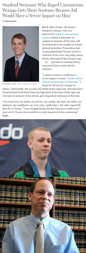 "chunty:  thisiseverydayracism:  thisiseverydayracism:  This is rape culture.  This is white male privilege.  This is injustice.  The rapist and the judge are revolting, sociopathic spawns of the devil.  Rapist: Brock Allen TurnerJudge: Aaron Persky  A slap on the wrist. What a female's body is worth, apparently. : Stanford Swimmer Who Raped Unconscious  Woman Gets Short Sentence Because Jail  Would Have a Severe Impact on Him  By Dayna Evans  Brock Allen Turner, the former  Stanford swimmer who was  discovered raping an unconscious  woman behind a dumpster on  campus in January of last year, will  be sentenced to six months in county  jail and probation. Prosecutors had  recommended that Turner receive a  sentence of six years, but judge Aaron  Persky determined that Turner's age  20 - and lack of criminal history  warranted him a much shorter  sentence.  ""A prison sentence would have a  severe impact on him,"" Persky said at  Turner's sentencing on Thursday. ""I  think he will not be a danger to  Brock Allen Turner. Photo: Stanford University  others."" Meanwhile, the 23-year-old victim in the rape case, who had had a  blood-alcohol level three times the legal limit at the time of the rape and  who had no memory of the attack, gave important testimony at the trial.  ""You took away my worth, my privacv, my energv, my time, my safetv, my  intimacy, my confidence, my own voice, until today,"" she said, reportedly  directly to Turner. ""I am a human being who has been irreversibly hurt.""  And yet it's Turner who would be severely impacted in his sentencing?  Right.   do chunty:  thisiseverydayracism:  thisiseverydayracism:  This is rape culture.  This is white male privilege.  This is injustice.  The rapist and the judge are revolting, sociopathic spawns of the devil.  Rapist: Brock Allen TurnerJudge: Aaron Persky  A slap on the wrist. What a female's body is worth, apparently."