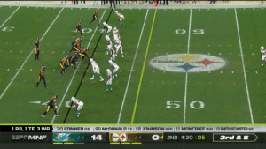 Every catch from @TeamJuju's 103-yard, 1 TD night! #MIAvsPIT https://t.co/08f1SouCGJ: Staoles  5  30 CONNER RB  89 MCDONALD TE 18 JOHNSON WR 11 MONCRIEF WR 19 SMITH-SCHUSTER WR  1 RB, 1 TE, 3 WR  14  ESFTMNF  2ND 4:30 05  3rd & 5  O-6  2-4 Every catch from @TeamJuju's 103-yard, 1 TD night! #MIAvsPIT https://t.co/08f1SouCGJ