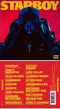 1 year ago today, The Weeknd released 'Starboy' featuring the tracks 'Party Monster', 'Starboy', & 'Sidewalks' 🔥💯 @TheWeeknd https://t.co/n4LGmrTbqv: STAPBOY  PARENTAL  .ADVISORY  EXPLICIT CONTENT   STARBOY  SIX FEET  CK ONE FEATURING DAFTPUNKUNDER  PARTYY  MONSTER LOVE TO LAY  RAC  TRACK TEN  TRACK TWO  TRACK ELEVEN  ALONELY NIGHT  ATTENTION  FALSE ALARM  REMINDER  ROCKIN,  SECRETS  TRACK THREE  TRACK TWELVE  8  f TRACK FOURメ  TRACK THIRTEEN f  ORDINARY LIF  TRACK FIVE  TRACK FOURTEEN  NOTHING  TRACK SIX  WITHOUT YOU  TRUE COLORS MACKFITEENǐ  TRACK SEVEN  STARGIRL  NTERLUDE DIE FORYOU  ALLIKNOW  TRACK SIXTEENFEATURING FUTURE  TRACK EIGHT  FEATURING LANA DEL REYF  f TRACK SEVENTEEN f  SIDEWALKS IFEELIT COMING  f TRACK NINE f FEATURING KENDRICK LAMAR$  乡TRACK EIGHTEEN  FEATURING DAFT PUNK f 1 year ago today, The Weeknd released 'Starboy' featuring the tracks 'Party Monster', 'Starboy', & 'Sidewalks' 🔥💯 @TheWeeknd https://t.co/n4LGmrTbqv