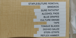 Alcohol, Blue, and Culture: STAPLE/SUTURE REMOVAL  BANDAIDS  SURE PATH/PAP  ALCOHOL PADS  BLUE DRAPES  CULTURE SWABS  ΤΑΡΕ  TONGUE BLADES  2X2/4X3 GAUZE  STERI-STRIPS  REFLEX HAMMER Damn this lineup is insane