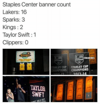 Just a reminder...  (Joe Rivera): Staples Center banner count  Lakers: 16  Sparks: 3  Kings 2  Taylor Swift 1  Clippers: 0  LA  ONBANEMES  STANLEY CUP  STANLEY CUP  CHAMPIONS  TALIA Just a reminder...  (Joe Rivera)