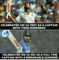 That's Virat Kohli for you.: Star  CELEBRATED HIS 1st TEST AS A CAPTAIN  WITH TWIN HUNDREDS  CELEBRATED HIS 1st ODI AS A FULL TIME  CAPTAIN WITH A MEMORABLE HUNDRED That's Virat Kohli for you.