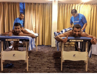 Cheteshwar Pujara and Wriddhiman Saha after a great partnership on the field... And Now its rest time off the field !!: * Star Cheteshwar Pujara and Wriddhiman Saha after a great partnership on the field... And Now its rest time off the field !!