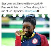 simone biles: Star gymnast Simone Biles voted AP  Female Athlete of the Year after golden  run at Rio Olympics  #Congrats  PIC