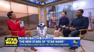 "Abc, Daisy Ridley, and John Boyega: STAR  IA  THE NEW STARS OF ""STAR WARS""  JOHN BOYEGA & DAISY RIDLEY ON ""THE FORCE AWAKENS.  WARS  abc  americanprophet:if you haven't seen john boyega's impression of pinocchio you haven't lived"