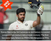 Only 3rd Test match & a Triple Ton *Not out* INCREDIBLE 👏🏻🙌🏻 Double Tap for Extra Ordinary innings 👌🏻: Star  Karun Nair is the 3rd batsman in test historytoconvert  a maiden test century intoatriple-century. The first  two were Gary Sobers in 1958 & Bob Simpsonin 1964. Only 3rd Test match & a Triple Ton *Not out* INCREDIBLE 👏🏻🙌🏻 Double Tap for Extra Ordinary innings 👌🏻