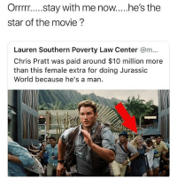 Chris Pratt, Funny, and Goals: star of the movie ?  Lauren Southern Poverty Law Center @m...  Chris Pratt was paid around $10 million more  than this female extra for doing Jurassic  World because he's a man Ok @larnite • ➫➫➫ Follow @Staggering for more funny posts daily! • (Ignore: memes like4like funny music love comedy goals fortnite)