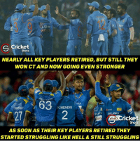 Memes, Cricket, and South Africa: Star  S Cricket  Shots  NEARLY ALL KEY PLAYERS RETIRED, BUT STILL THEY  WON CT AND NOW GOING EVEN STRONGER  63  KM  MENDIS  WA SRILANKA  ricke  Shots  AS SOONAS THEIR KEY PLAYERS RETIRED THEY  STARTED STRUGGLING LIKE HELL & STILL STRUGGLING This is where management matters! Hope Sri Lanka soon find their rhythm back 😊  South Africa- 91/2, Amla- 34*, AB De- 19, RSA need 73 more from 30.3 overs