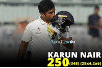 250 up for Karun Nair! Becomes 4th Indian batsman after VVS Laxman, Rahul Dravid and Virender Sehwag to hit 250+ in tests  India - 689/6 (182.1 ov); Lead by 210 runs: Star  Sportzw Iki  KARUN NAIR  (348) (28x4,2x6) 250 up for Karun Nair! Becomes 4th Indian batsman after VVS Laxman, Rahul Dravid and Virender Sehwag to hit 250+ in tests  India - 689/6 (182.1 ov); Lead by 210 runs