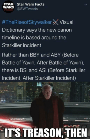 Star Star Wars Facts Wars Pacis Theriseofskywalker X Visual Dictionary Says The New Canon Timeline Is Based Around The Starkiller Incident Rather Than Bby And Aby Before Battle Of Yavin After Battle
