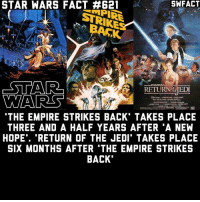 """Which film from the original trilogy is your favorite? For me, it's Episode V.: STAR SWFACT  STRIKE  RETURNTE EDT  WARES  THE EMPIRE STRIKES BACK TAKES PLACE  THREE AND A HALF YEARS AFTER A NEW  HOPE"""". """"RETURN OF THE JEDI TAKES PLACE  SIX MONTHS AFTER 'THE EMPIRE STRIKES  BACK Which film from the original trilogy is your favorite? For me, it's Episode V."""