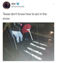 How To, Snow, and Star: Star W  @nommsstar  Texas don't know how to act in the  snow Texans.. 🤷‍♂️🤦‍♂️😂 https://t.co/nwkkzkaF7w