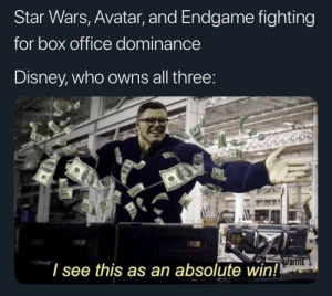 Me irl: Star Wars, Avatar, and Endgame fighting  for box office dominance  Disney, who owns all three  l see this as an absolute win! Me irl