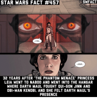 """It's actually 36 years. I got mixed up by which comic this was in. What's on your resolution? Yes this is canon! • starwars sw starwarsfact starwarsfacts starwarstrivia yoda darthvader lukeskywalker princessleia jarjarbinks macewindu clonewars ahsokatano starwarstheclonewars starwarsrebels georgelucas lucasfilm jedi sith disney: STAR WARS FACT #457  ...I FEEL...  COLD.  32 YEARS AFTER """"THE PHANTOM MENACE PRINCESS  LEIA WENT TO NABOO AND WENT INTO THE HANGAR  WHERE DARTH MAUL FOUGHT QUI-GON JINN AND  OBI-WAN KENOBI. AND SHE FELT DARTH MAUL'S  PRESENCE It's actually 36 years. I got mixed up by which comic this was in. What's on your resolution? Yes this is canon! • starwars sw starwarsfact starwarsfacts starwarstrivia yoda darthvader lukeskywalker princessleia jarjarbinks macewindu clonewars ahsokatano starwarstheclonewars starwarsrebels georgelucas lucasfilm jedi sith disney"""