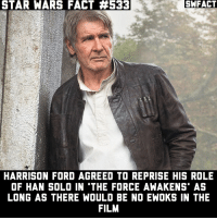 Han Solo, Harrison Ford, and Memes: STAR WARS FACT #533  SWFACT  WARS FACT #s33  HARRISON FORD AGREED TO REPRISE HIS ROLE  OF HAN SOLO IN THE FORCE AWAKENS' AS  LONG AS THERE WOULD BE NO EWOKS IN THE  FILM Do you want the Ewoks to appear in another film? • starwars sw starwarsfact starwarsfacts starwarstrivia yoda darthvader lukeskywalker princessleia obiwankenobi macewindu clonewars ahsokatano starwarstheclonewars starwarsrebels georgelucas lucasfilm jedi sith disney rogueone jynerso anewhope empirestrikesback returnofthejedi theforceawakens thephantommenace attackoftheclones revengeofthesith