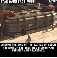 Nooo! I need my Jawa Juice! Fact 600!: STAR WARS FACT #600  AROUND THE TIME OF THE BATTLE OF ENDOR  CRETURN OF THE JEDI). DEX S DINER WAS  DEFUNCT AND ABANDONED. Nooo! I need my Jawa Juice! Fact 600!