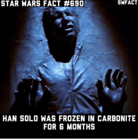 I wonder if you age at all while you're frozen in carbonite 🤔: STAR WARS FACT #690  HAN SOLO WAS FROZEN IN CARBONITE  FOR 6 MONTHS I wonder if you age at all while you're frozen in carbonite 🤔