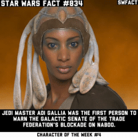 So she's responsible for everything. The events of Episode I, the fall of the Republic, the elimination of the Jedi. My mind is officially blown.: STAR WARS FACT #834  JEDI MASTER ADI GALLIA WAS THE FIRST PERSON TO  WARN THE GALACTIC SENATE OF THE TRADE  FEDERATION'S BLOCKADE ON NABOO.  CHARACTER OF THE WEEK So she's responsible for everything. The events of Episode I, the fall of the Republic, the elimination of the Jedi. My mind is officially blown.