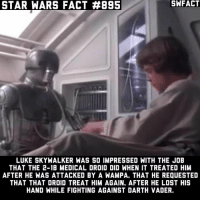 Darth Vader, Luke Skywalker, and Memes: STAR WARS FACT #895  STAR WARS FACT  SWFACT  LUKE SKYWALKER WAS SO IMPRESSED WITH THE JOB  THAT THE 2-1B MEDICAL DROID DID WHEN IT TREATED HIM  AFTER HE WAS ATTACKED BY A WAMPA. THAT HE REQUESTED  THAT THAT DROID TREAT HIM AGAIN, AFTER HE LOST HIS  HAND WHILE FIGHTING AGAINST DARTH VADER. If you could own any droid, which one would you pick? Source: Absolutely Everything You Need to Know About Star Wars