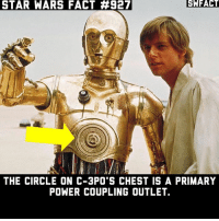 Memes, Star Wars, and Power: STAR  WARS  FACT  #927  SHFACT  THE CIRCLE ON C-3PO S CHEST IS A PRIMARY  POWER COUPLING OUTLET. Here's some useless trivia 😂