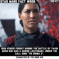 "The Battlefront II book, Inferno Squad, came out yesterday! I'll probably get it when the price goes down a little.: STAR WARS FACT #928  SWFACT  IDEN VERSIO FOUGHT DURING THE BATTLE OF YAVIN  WHEN SHE WAS A SENIOR LIEUTENANT, UNDER THE  CALL SIGN ""TIE SIGMA 3"".  CHARACTER OF THE WEEK The Battlefront II book, Inferno Squad, came out yesterday! I'll probably get it when the price goes down a little."