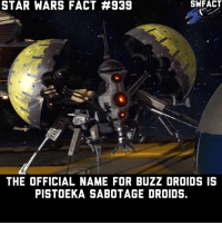 They killed R4 😰: STAR WARS FACT #939  SWFACT  THE OFFICIAL NAME FOR BUZZ DROIDS IS  PISTOEKA SABOTAGE DROIDS. They killed R4 😰