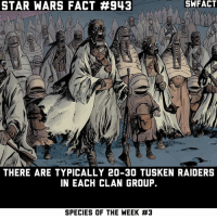 Not just the men, but the women and the children too.: STAR WARS FACT #943  SWFACT  THERE ARE TYPICALLY 20-30 TUSKEN RAIDERS  IN EACH CLAN GROUP.  SPECIES OF THE WEEK Not just the men, but the women and the children too.