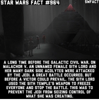 It's unclear what she was creating though. Source: Dave Filoni (Show-runner of Star Wars: Rebels): STAR WARS FACT #964  SWFACT  A LONG TIME BEFORE THE GALACTIC CIVIL WAR. ON  MALACHOR V. AN UNNAMED FEMALE SITH LORD AND  HER MANY DARK SIDE ACOLYTES WERE ATTACKED  BY THE JEDI. A GREAT BATTLE OCCURRED, BUT  BEFORE A VICTOR COULD PREVAIL, THE SITH LORD  USED THE SITH TEMPLE S WEAPON TO FREEZE  EVERYONE AND STOP THE BATTLE. THIS WAS TO  PREVENT THE JEDI FROM SEIZING CONTROL OF  WHAT SHE WAS CREATING. It's unclear what she was creating though. Source: Dave Filoni (Show-runner of Star Wars: Rebels)
