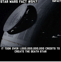 Death Star, Disney, and Empire: STAR WARS FACT H547  IT TOOK OVER 1.000.000.000.000 CREDITS TO  CREATE THE DEATH STAR Money is obviously no problem for the Empire. • starwars sw starwarsfact starwarsfacts starwarstrivia yoda darthvader lukeskywalker princessleia obiwankenobi macewindu clonewars ahsokatano starwarstheclonewars starwarsrebels georgelucas lucasfilm jedi sith disney rogueone jynerso anewhope empirestrikesback returnofthejedi theforceawakens thephantommenace attackoftheclones revengeofthesith