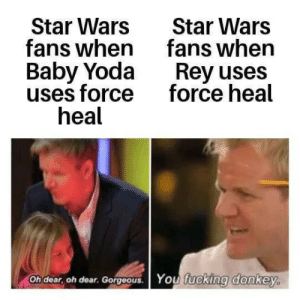 Hypocrites when discussing force powers: Star Wars  fans when  Baby Yoda  uses force  heal  Star Wars  fans when  Rey uses  force heal  You fucking donkey.  Oh dear, oh dear. Gorgeous. Hypocrites when discussing force powers