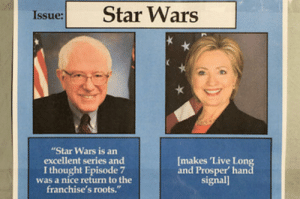 """Bernie or Hillary Meme: Star Wars  Issue:  """"Star Wars is an  excellent series and  I thought Episode 7  was a nice return to the  franchise's roots.""""  [makes 'Live Long  and Prosper' hand  signal] Bernie or Hillary Meme"""